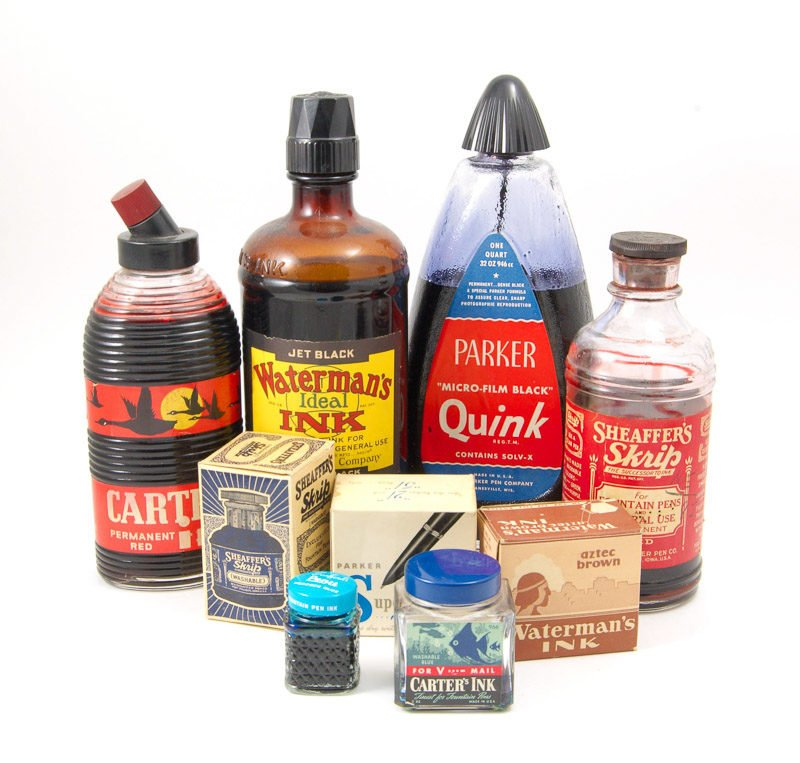 Vintage Fountain Pen Ink Bottles