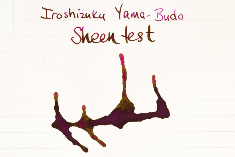 fountain pen ink sheen iroshizuku yama budo
