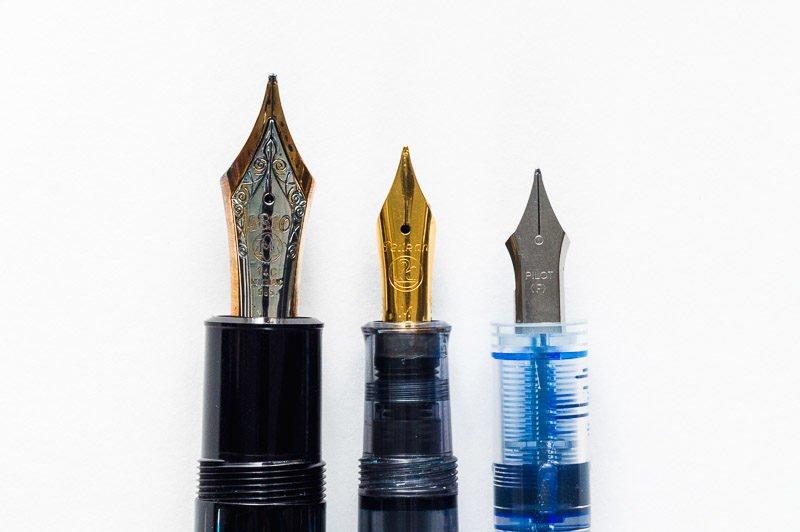 different fountain pen nib sizes pelikan montblanc pilot