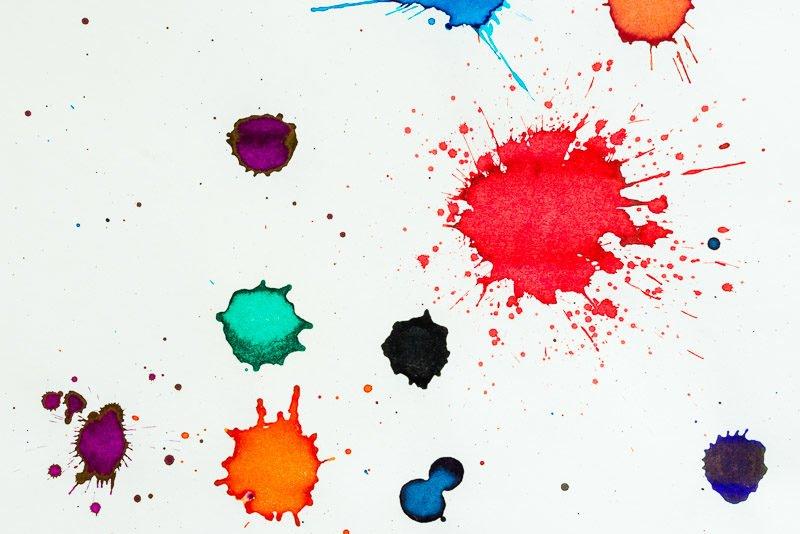fountain pen ink color splats sheen