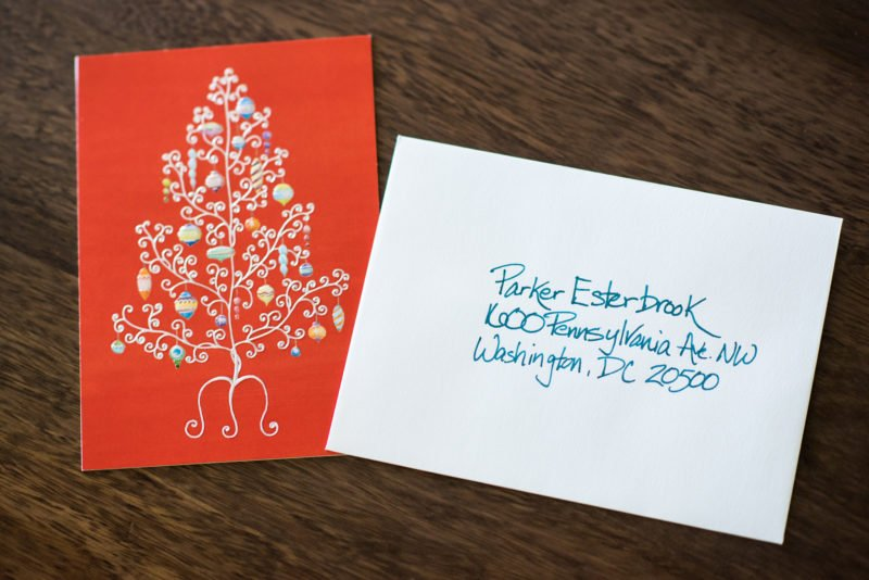 christmas card with addressed envelope