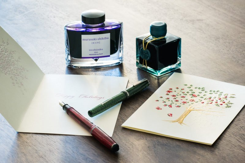 fountain pen holiday card esterbrook j herbin emerald iroshizuku ink
