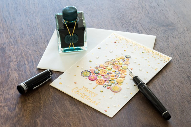 j herbin emerald of chivor fountain pen holiday card