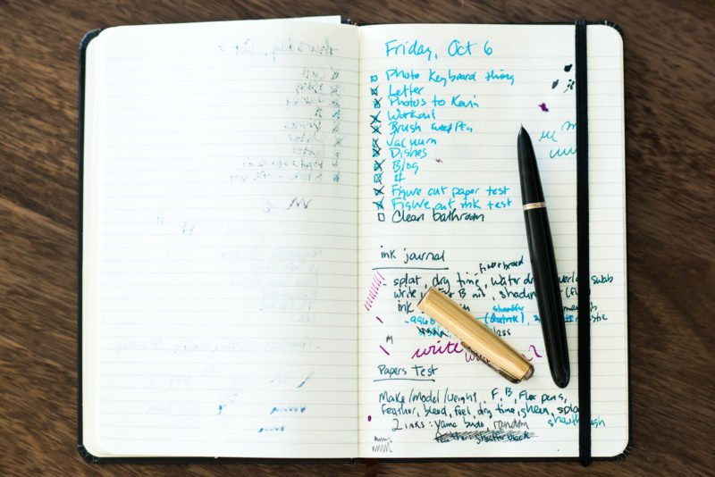 using fountain pens for lists moleskine parker 51
