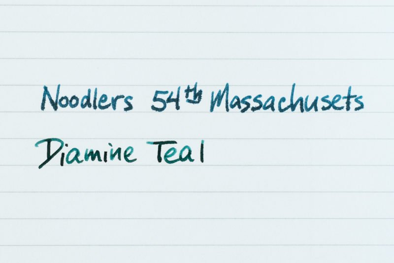 fountain pen ink feathering noodlers 54th massachusets