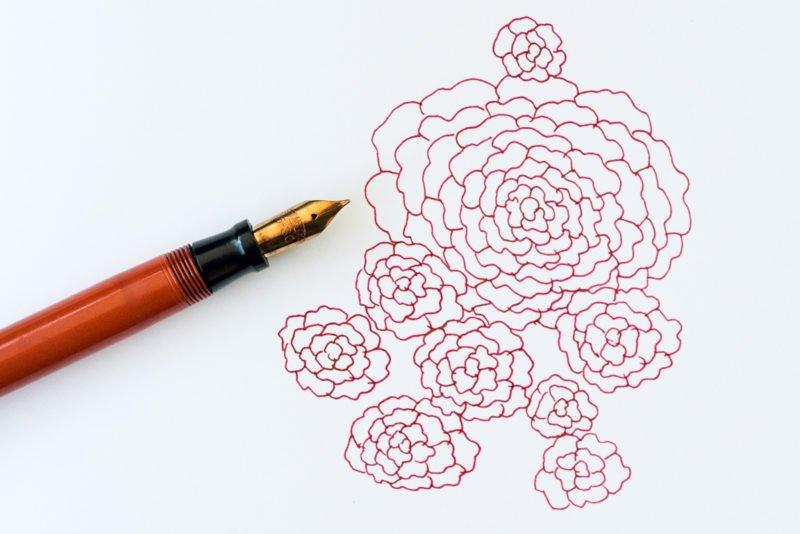using fountain pens more often flower doodle with sheaffer pen