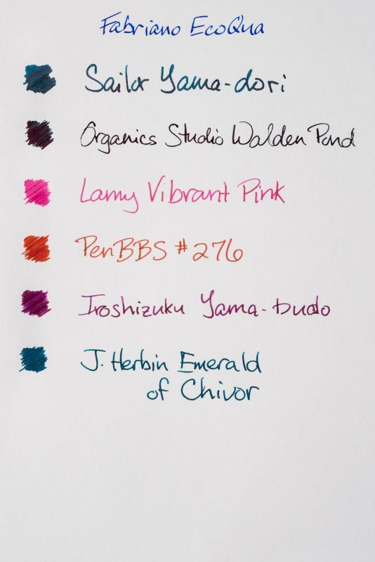 How does paper affect fountain pen ink sheen fabriano ecoqua notebook
