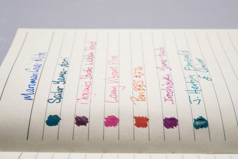 How does paper affect fountain pen ink sheen maruman cover note side view