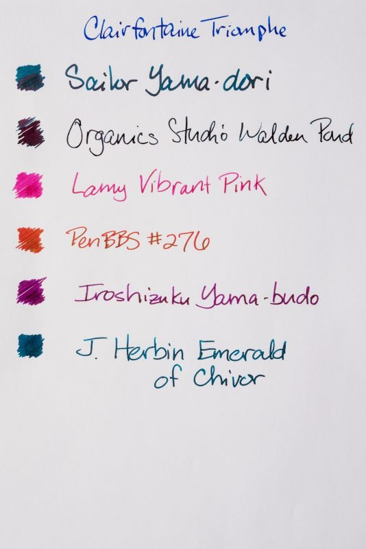 How does paper affect fountain pen ink sheen Clairfontaine triomphe