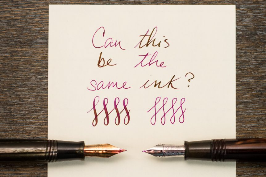 the same fountain pen ink in two different pens