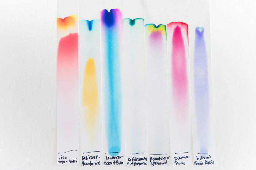 fountain pen ink chromatography samples