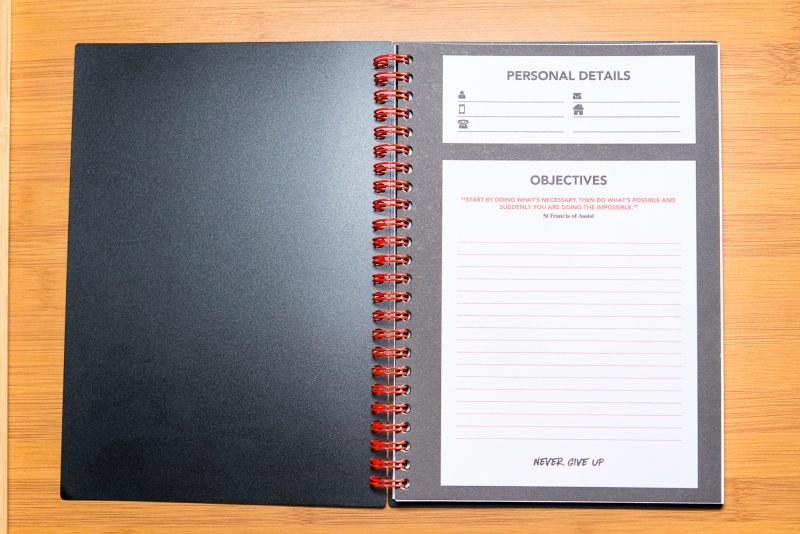 black n red spiral notebook review interior quote