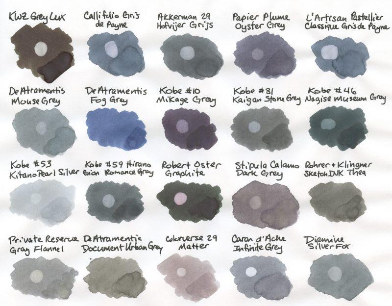 Grey Fountain Pen Ink Comparison swabs 2