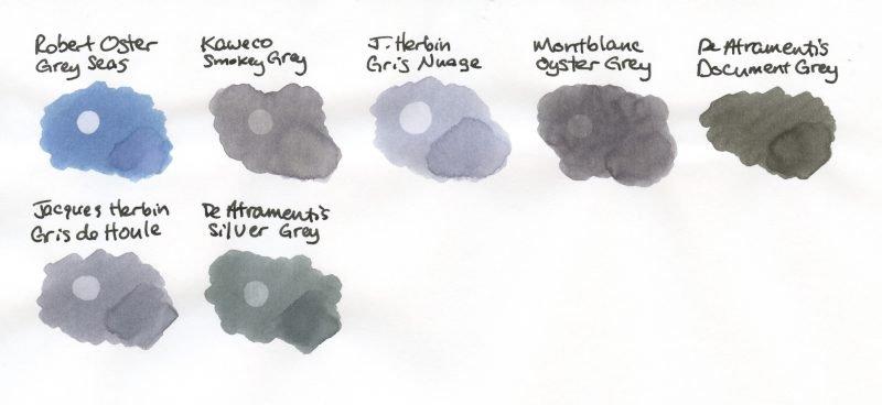 Grey Fountain Pen Ink Comparison swabs 3