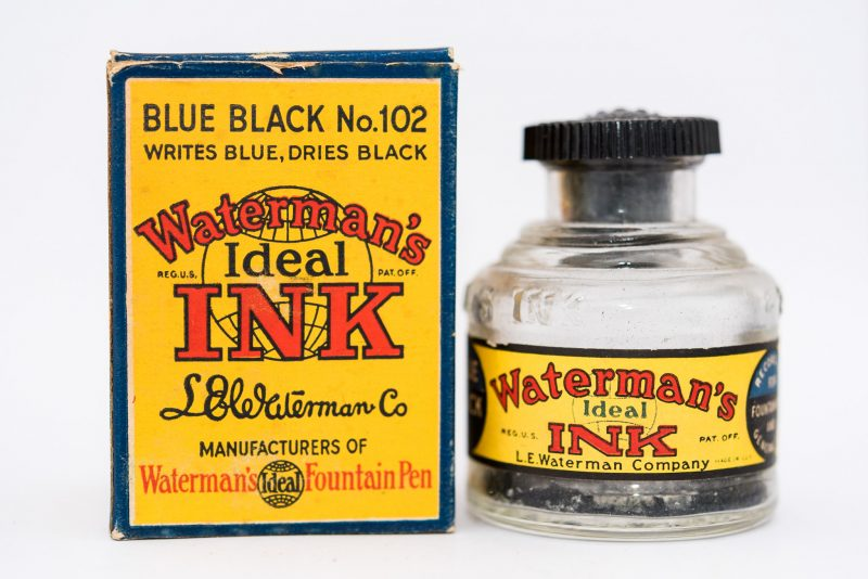 Identifying Vintage Fountain Pen Ink Bottles and Boxes Waterman old bottle