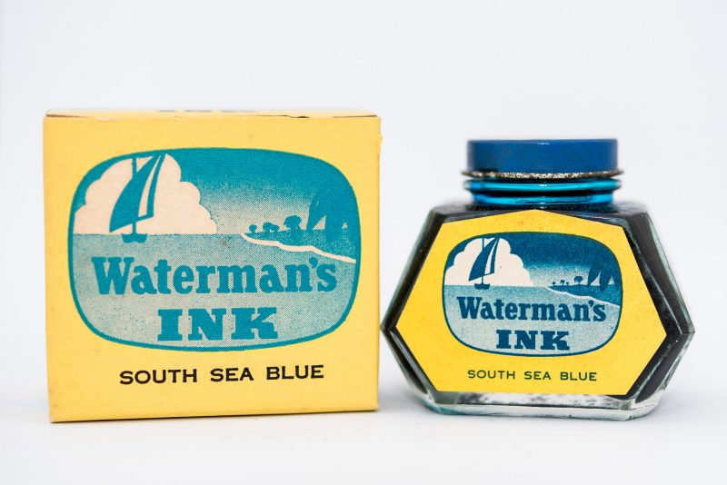 Identifying Vintage Fountain Pen Ink Bottles and Boxes waterman south sea blue