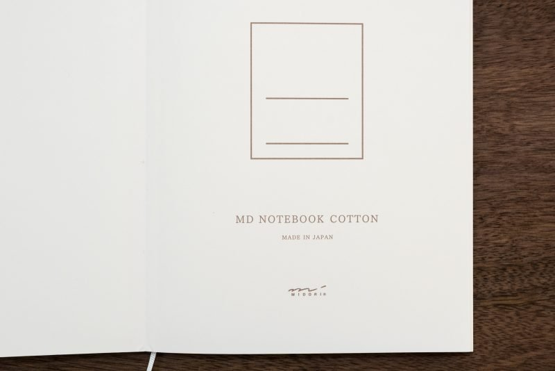 Midori MD Cotton Notebook inside cover