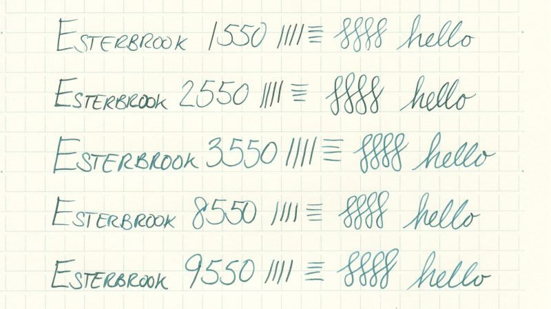 Esterbrook nib writing sample 9550
